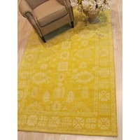 Hand-tufted Wool Yellow Traditional Oriental Overdyed Rug - 5' x 8'