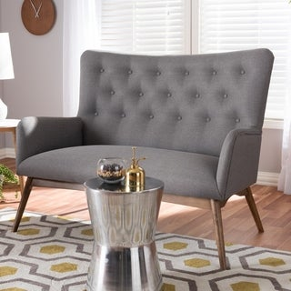 Mid-Century Grey Fabric Upholstered Loveseat by Baxton Studio
