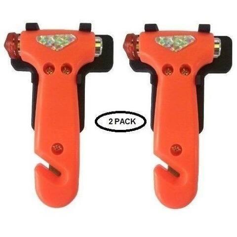 Zone Tech 2-Pack Car Emergency Life Hammer - Easily Smash Car Windows Razor-Sharp Seat Belt Cutter