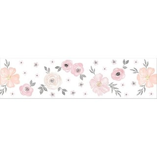 Sweet Jojo Designs Wall Paper Border for the Pink and Grey Watercolor Floral Collection