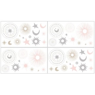 Sweet Jojo Designs Wall Decal Stickers for the Pink and Gold Celestial Collection (Set of 4)