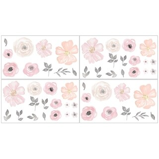 Sweet Jojo Designs Wall Decal Stickers for the Pink and Grey Watercolor Floral Collection (Set of 4)