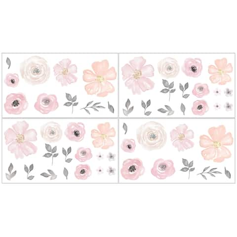 Sweet Jojo Designs Pink and Grey Watercolor Floral Collection Peel and Stick Wall Decal Stickers Art Nursery Decor (Set of 4)