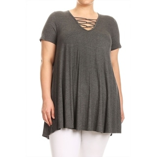 Women's Plus Size Solid Top with Strappy V-Neckline