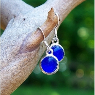 Handmade Recycled Vintage Cobalt Royal Blue Noxzema Jar Color Dot Earrings (United States)