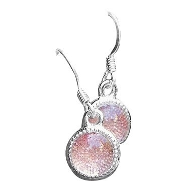 Handmade Recycled Reclaimed Antique Pink Depression Glass Glass Color Dot Earrings (United States)