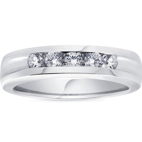 fe09453eb36 Shop Bliss 14k White Gold 1 2 ct TDW Mens Diamond Wedding Ring High  Polished Channel Set Band - On Sale - Free Shipping Today - Overstock -  20311460