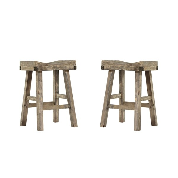 Shop Emerald Home Valencia Reclaimed Pine 25 Bar Stool With Saddle