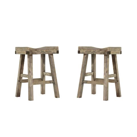 "Emerald Home Valencia Reclaimed Pine 25"" Bar Stool with Saddle Seat And Metal Accents, Set of Two"