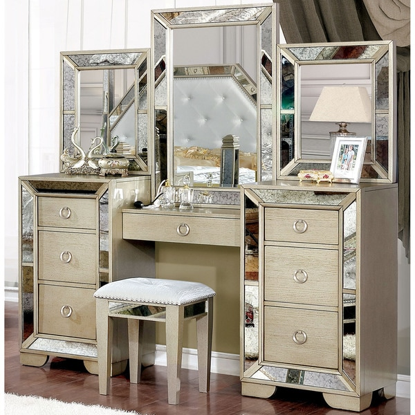Shop Furniture Of America Maxine Modern 3 Piece Silver Vanity Set