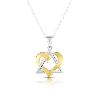 "Noray Designs 14k White & Yellow Gold David Heart Pendant, 18"" Gold Chain"