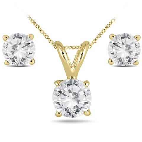 5/8 Carat TW Diamond Pendant and Earring Set in 14K Yellow Gold (H-I Color, SI1-SI2 Clarity)