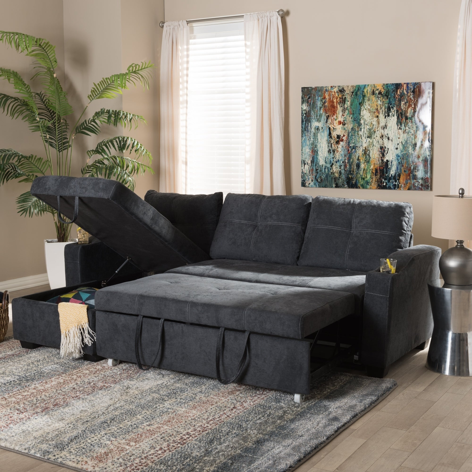 Terrific Contemporary Reversible Sectional Sofa By Baxton Studio Caraccident5 Cool Chair Designs And Ideas Caraccident5Info