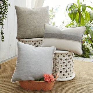 Patina Vie Ombre Affair Sunbrella Pillow Assorted Set of 3 in Grey and Ivory