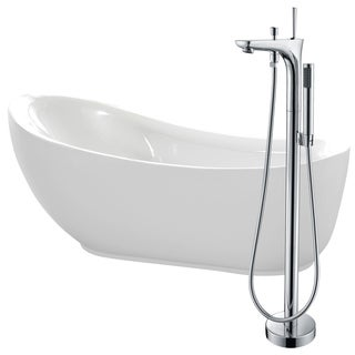 Talyah 71 in. Acrylic Soaking Bathtub in White with Kase Faucet in Polished Chrome