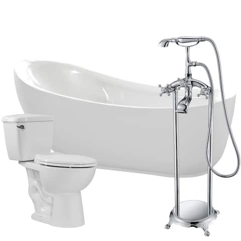 Talyah 71 in. Acrylic Soaking Bathtub in White with Tugela Faucet and Author 1.28 GPF Toilet