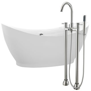 Reginald 68 in. Acrylic Soaking Bathtub in White with Sol Faucet in Brushed Nickel