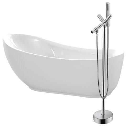 Talyah 71 in. Acrylic Soaking Bathtub in White with Havasu Faucet in Brushed Nickel