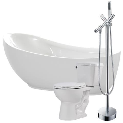 Talyah 71 in. Acrylic Soaking Bathtub in White with Havasu Faucet and Author 1.28 GPF Toilet