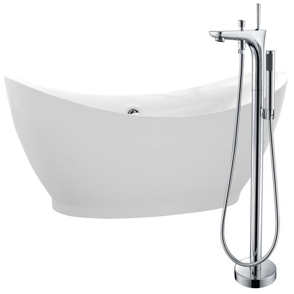 Reginald 68 in. Acrylic Soaking Bathtub in White with Kase Faucet in Polished Chrome