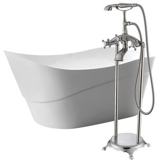 Kahl 67 in. Acrylic Soaking Bathtub in White with Tugela Faucet in Brushed Nickel