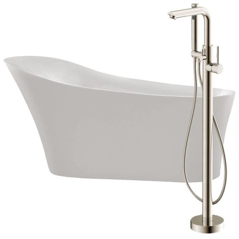 Maple 67 in. Acrylic Soaking Bathtub in White with Sens Faucet in Brushed Nickel