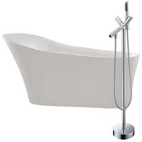 Maple 67 in. Acrylic Soaking Bathtub in White with Havasu Faucet in Polished Chrome