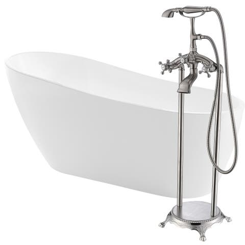 Trend 67 in. Acrylic Soaking Bathtub in White with Tugela Faucet in Brushed Nickel