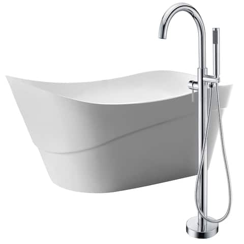 Kahl 67 in. Acrylic Soaking Bathtub in White with Kros Faucet in Polished Chrome
