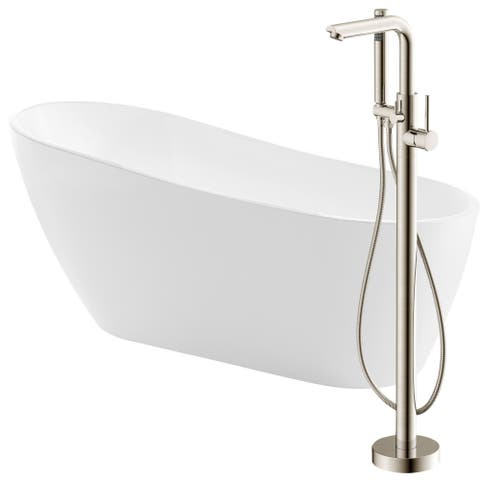 Trend 67 in. Acrylic Soaking Bathtub in White with Sens Faucet in Brushed Nickel
