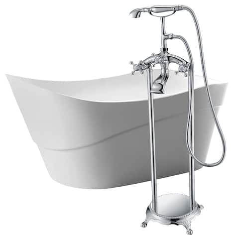 Kahl 67 in. Acrylic Soaking Bathtub in White with Tugela Faucet in Polished Chrome