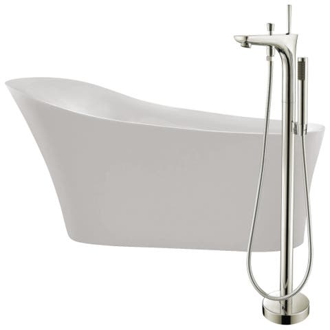 Maple 67 in. Acrylic Soaking Bathtub in White with Kase Faucet in Brushed Nickel