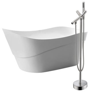 Kahl 67 in. Acrylic Soaking Bathtub in White with Havasu Faucet in Brushed Nickel