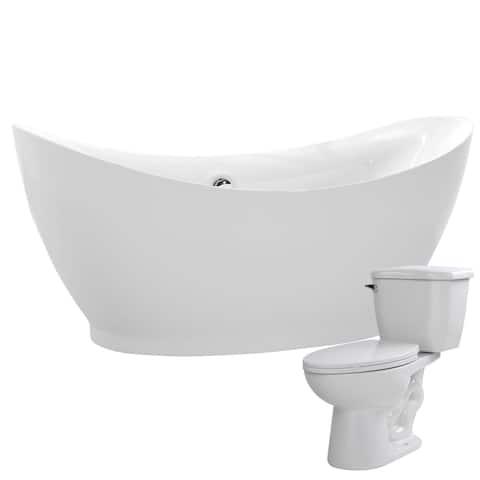 Reginald 68 in. Acrylic Soaking Bathtub in White with Kame 2-piece 1.28 GPF Single Flush Toilet