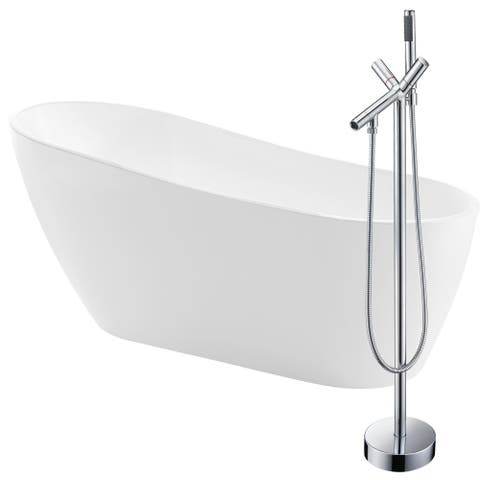 Trend 67 in. Acrylic Soaking Bathtub in White with Havasu Faucet in Polished Chrome