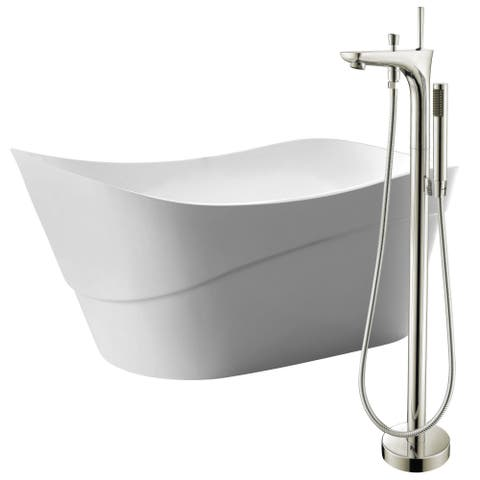 Kahl 67 in. Acrylic Soaking Bathtub in White with Kase Faucet in Brushed Nickel