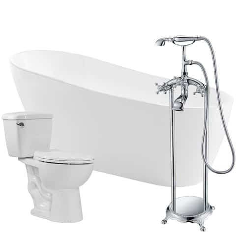 Trend 67 in. Acrylic Soaking Bathtub in White with Tugela Faucet and Author 1.28 GPF Toilet