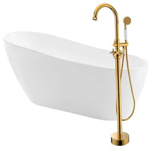 Trend 67 in. Acrylic Soaking Bathtub in White with Bridal Faucet in Gold