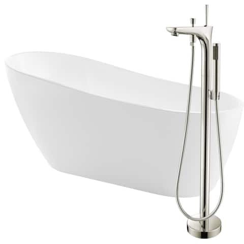Trend 67 in. Acrylic Soaking Bathtub in White with Kase Faucet in Brushed Nickel