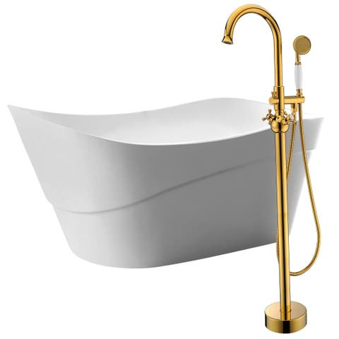 Kahl 67 in. Acrylic Soaking Bathtub in White with Bridal Faucet in Gold