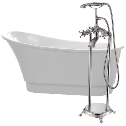 Prima 67 in. Acrylic Soaking Bathtub in White with Tugela Faucet in Brushed Nickel