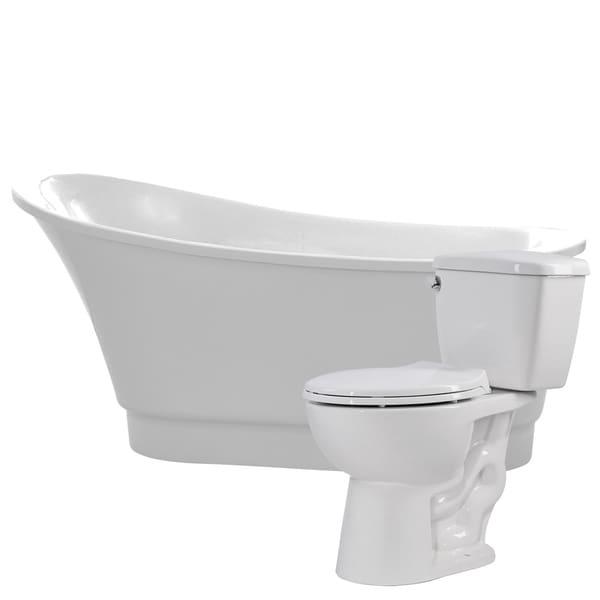 Prima 67 in. Acrylic Soaking Bathtub in White with Cavalier 2-piece ...