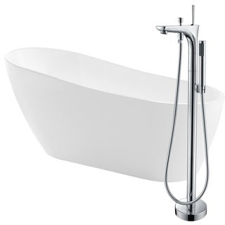 Trend 67 in. Acrylic Soaking Bathtub in White with Kase Faucet in Polished Chrome
