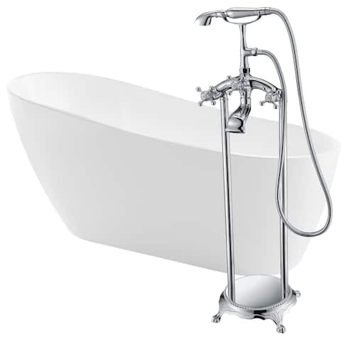 Trend 67 in. Acrylic Soaking Bathtub in White with Tugela Faucet in Polished Chrome