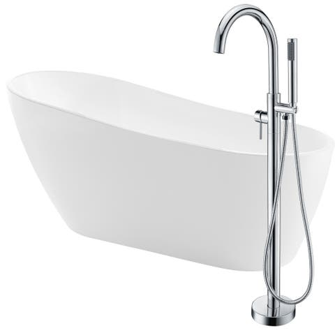 Trend 67 in. Acrylic Soaking Bathtub in White with Kros Faucet in Polished Chrome