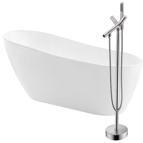 Trend 67 in. Acrylic Soaking Bathtub in White with Havasu Faucet in Brushed Nickel