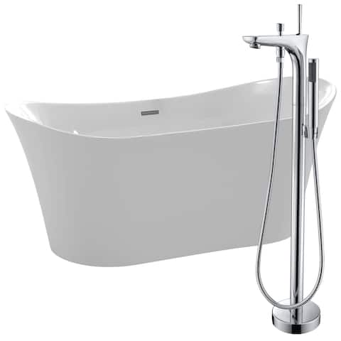 Eft 67 in. Acrylic Soaking Bathtub in White with Kase Faucet in Polished Chrome