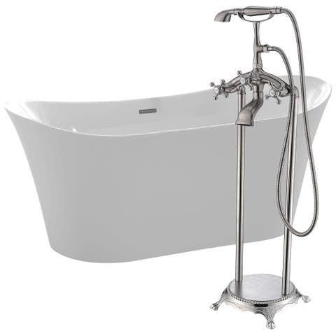 Eft 67 in. Acrylic Soaking Bathtub in White with Tugela Faucet in Brushed Nickel