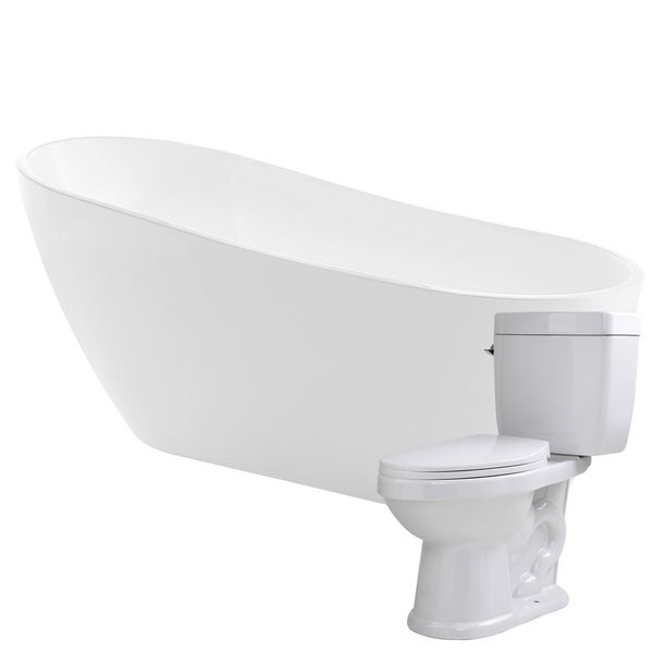 Trend 67 in. Acrylic Soaking Bathtub in White with Kame 2-piece 1.28 ...