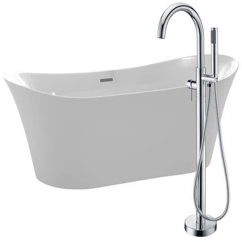 Eft 67 in. Acrylic Soaking Bathtub in White with Kros Faucet in Polished Chrome